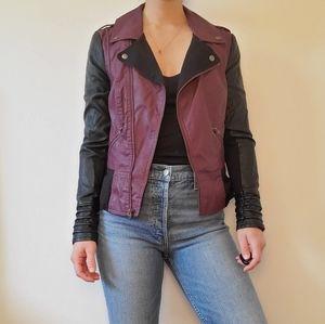 Vegan leather two toned lined biker jacket